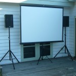 Tripod Screen and Speakers